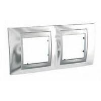 Cover Frame Unica Top, Bright chrome/Aluminium, 2 gangs