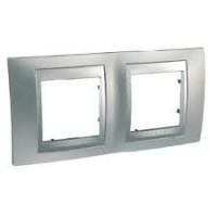 Cover Frame Unica Top, Glossy chrome/Aluminium, 2 gangs