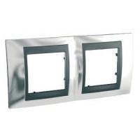 Cover Frame Unica Top, Bright chrome/Graphite, 2 gangs