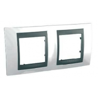 Cover Frame Unica Top, Top white/Graphite, 2 gangs