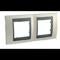 Cover Frame Unica Top, Opal titanium/Graphite, 2 gangs