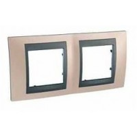 Cover Frame Unica Top, Onyx copper/Graphite, 2 gangs