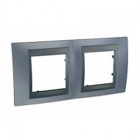 Cover Frame Unica Top, Metal grey/Graphite, 2 gangs