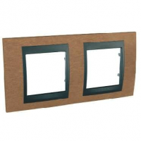 Cover Frame Unica Top, Cherry tree/Graphite, 2 gangs