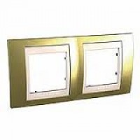 Cover Frame Unica Top, Gold/Ivory, 2 gangs