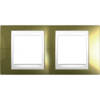 Cover Frame Unica Top, Gold/White, 2 gangs