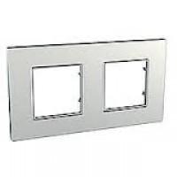 Cover Frame Unica Quadro, Silver, 2 gangs