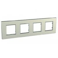 Cover Frame Unica Quadro, Silver, 4 gangs