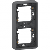 Mureva Styl - cover frame for socket outlet - 2 gangs - vertical - grey
