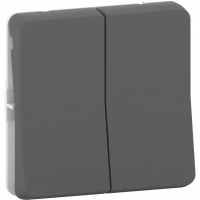 Mureva Styl - double two-way switch - flush & surface mounting - grey