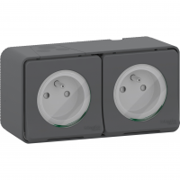 Mureva Styl - double power socket-outlet with pinE - 16A 250V - 2P + E with shutters - grey