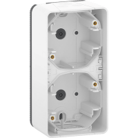Mureva Styl - surface mounted box - 2 gangs vertical- white