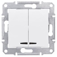 2-circuit Switch 10 AX - 250 V AC  with blue locator lamp, White