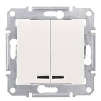 2-circuit Switch 10 AX - 250 V AC  with blue locator lamp, Beige