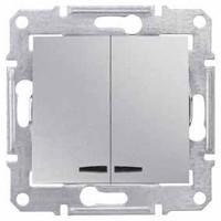2-circuit Switch 10 AX - 250 V AC  with blue locator lamp, Aluminium