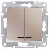 2-circuit Switch 10 AX - 250 V AC  with blue locator lamp, Titanium
