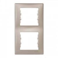 Cover Frame 2 gangs, Titanium, Vertical