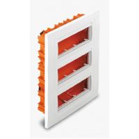 Flush mounting box, Horizontal 3 rows, White