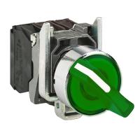 Standart handle Illuminated selector switch 1 N/O + 1 N/C, Green