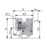 Проходна клема WKM 2,5 F1/15/V0 2.5 mm², Сива