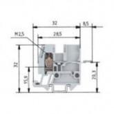 Проходна клема WKM 2,5 F2 /15/V0, 2.5 mm², Сива
