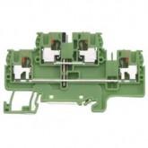 Двуетажна заземителна клема WTP 2.5/4 E PE 4 mm², Жълто-зелена