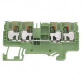 Двойна заземителна клема WTP 2.5/4 D2/2 PE 4 mm², Жълто-зелена