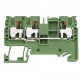 Двойна заземителна клема WTP 2.5/4 D1/2 PE 4 mm², Жълто-зелена
