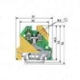 Заземителна клема WK 4 SL/ U /V0, 4 mm², Жълто-зелена