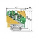 Заземителна клема WK 4 / D2/2 SL / U /V0, 4 mm², Жълто-зелена