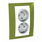 Двоен контактен излаз, 2P+E, CZ/SK, с детска защита, Бял/Ярко зелен