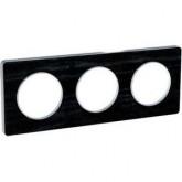 Тройна рамка, хоризонтален и вертикален монтаж, Odace Touch Aluminium, Черен дъб