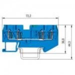 Проходна пружинна клема WKF 1,5 D1/2/35, 1.5 mm², Синя
