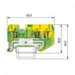 Заземителна клема WKF 1,5 D1/2SL/35, 1.5 mm², Жълто-зелена