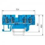 Двойна модулна клема WKFN 2,5 D2/2/35, 2.5 mm², Синя