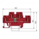 Специална клема WKFN 2.5 E/35/1D/2G, 2.5 mm², Червена