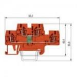 Специална клема WKFN 2.5 E/35/LD-PO24 LED Червена 24 V DC, 2.5 mm², Оранжева