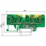 Заземителна клема WKFN 4 D2/2/SL/35, 4 mm², Жълто-зелена