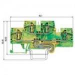 Заземителна клема WKFN 4 E/SL/35, 4 mm², Жълто-зелена