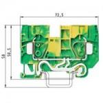 Заземителна клема WKFN 10 SL/35, 10 mm², Жълто-зелена