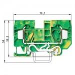 Заземителна клема WKFN 16 SL/35, 16 mm², Жълто-зелена