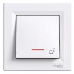 """Бутон със символ """"звънец"""" и глим-лампа 10 А, Бял"""