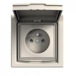 Единичен контактен излаз с детска защита и капаче, френски стандарт, IP44, Крема