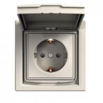 Единичен контактен излаз с детска защита и капаче, Шуко, IP44, Крема