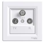 TV-R-SAT розеткa IEC мъжки + женски + F, междинна 8 dB, Бял