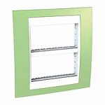 Рамка с централизираща функция Unica Plus IT 2 x 4 модула, Бял/Ябълково зелен