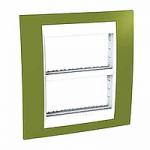 Рамка с централизираща функция Unica Plus IT 2 x 4 модула, Бял/Ярко зелен