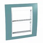 Рамка с централизираща функция Unica Plus IT 2 x 4 модула, Бял/Светло син