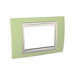 Тримодулна рамка италиански стандарт Unica Plus IT, Слонова кост/Ябълково зелен