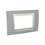Тримодулна рамка италиански стандарт Unica Plus IT, Слонова кост/Светло сив